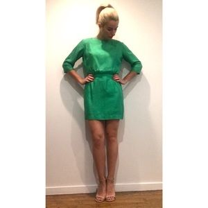 VINTAGE ||| RAW SILK EMERALD GREEN COCKTAIL DRESS